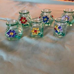 Jeweled mini glass container